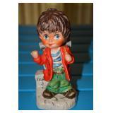 Goebel Boy hitchhiker, # embossed on bottom is 11 024 - 14, 1977, Goebel W Germany, Paris 3 Painted
