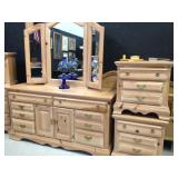 Natural Pine Dresser and Night Stands