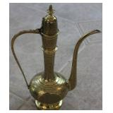 Vintage Etched Brass Metal Teapot (India)