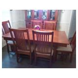 MISSION STYLE TABLE & 6 CHAIRS