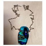 Sterling Chain w/ Murano Glass Pendant