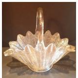 Vintage Large Pressed Glass Basket