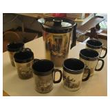 West Bend Thermos Pitcher w/ 6 Cups