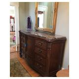 Marble topped Buffet and gilded mirror