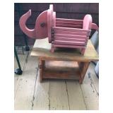 #9 wood basket, bench $15