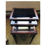 #55 3 glass top nesting tables $30