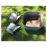 #86 3 zinc, watering cans w/out nozzles $25