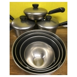 #105 Revere pans & stainless bowls $35