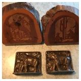 #122 RedwoodCowboy $ metal elephant bookends $15
