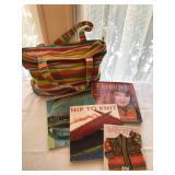 44.Angela Adams bag + books $35