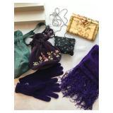 C: 4 purses, gloves w/scarf $22