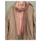 KK: linen wrinkled hooded shirt, short sleeve blouse,  scarf $20