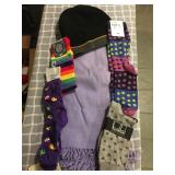 OO: Putamayo new but slightly faded scarf, wool cap, 4 socks $18