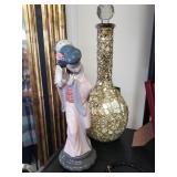LLardro Chinese figurine, $75 Gold vase $25