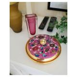enamel painted 24Kt with divider plate inside glass now $25
