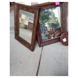 Pair metal framed mirrors/$135