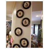 NEW SET of 6 black/wht bird prints in distressed black frames $165