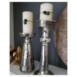 Mercury glass candle set/$85