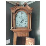 Antique Longcase Clock, dated 1797. Works with a beautiful chime. Hand Painted Metal Face.