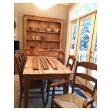 Pine Farm Table, Rush Seat Chairs, European Country China Hutch From British Traditions (handmade in