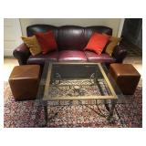 Iron Base Glass Top Coffee Table, Pair of Leather Stools, Crate and Barrel Leather Sofa