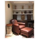 Crate and Barrel Leather Chair and Ottoman, Hand Painted Indian Cabinets, Stone Pillar Pedestals