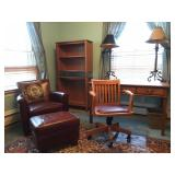 Crate and Barrel Leather Arm Chair, Eldred Wheeler Desk, Book Shelves