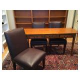 Eldred Wheeler Three Drawer Writing Desk in Tiger Maple, Leather Side Chairs