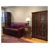 Mohr and McPherson Hand Painted Armoire and Tall Cabinet, Crate and Barrel Leather Sofa