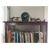 Book Shelves, Books, Studio Pottery Clock, Pewter Figurines