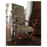 Antique High Back Carved Frame Arm Chair
