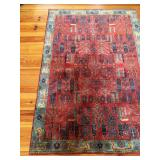 Hand Knotted Persian Gabbeh Red Area Rug, 4 x 6