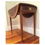 Stickley Pembroke Mahogany Drop Leaf End Tables with Drawer and Medallion and Bell Flower Inlay