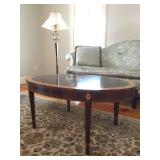 Stickley Mahogany Oval Coffee Table with Medallion Inlay