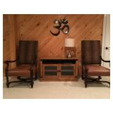 Alexander and Mary by John Richard High Back Barley Twist Armchairs, Entertainment Console, Metal Om