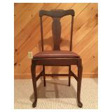 19th C Fiddle Back Side Chairs, Leather Seat, Set of Four