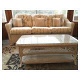 Wicker Sofa, Wicker End Table
