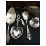 Rare Sterling Including Tostrup Serving Pieces and Sterling Tea Ball with Stand