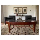 Oval Satinwood Coffee Table with Inset Glass Top