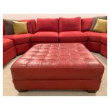 Tufted Red Leather Ottoman