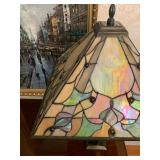Quoizel Art Deco Style Stained Glass Lamp with Handles