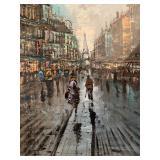 Paris Cityscape, Oil on Canvas, Signed Minetti