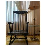 Nichols and Stone Stenciled Rocking Chair, Brass Table Lamp