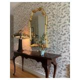 Scrolled Giltwood Mirror, Mahogany Console Table