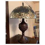 Tiffany Style Stained Glass Lamp, Blue Roses