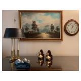 Brass Duck Bookends, Stiffel Triple Candle Stick Lamp, Ethan Allen Clock