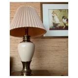 Stiffel Ivory and Brass Lamps, Pair