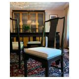 Chinoiserie Style Dining Set, Six Chairs, Hutch, Sideboard and Glass Inset Table