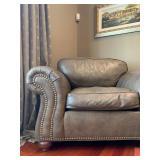 Ethan Allen Leather Armchair and Ottoman