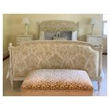 1. QUEEN Vintage French Bed Frame with Updated Damask Upholstered Headboard and Footboard, 88 x 64 x